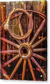 Old Wheel And Rope Acrylic Print by Garry Gay