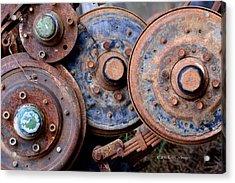 Old Wheels, Circles And Bolts Acrylic Print