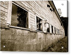 Old White Barn Acrylic Print by Sonja Anderson