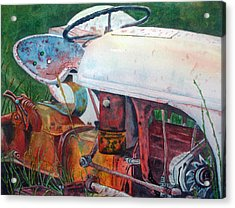Old White Tractor Out To Pasture Acrylic Print by Rosie Phillips