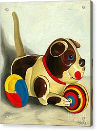 Old Windup Dog Toy Painting Acrylic Print by Linda Apple