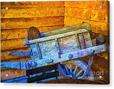 Old Wine Cart Oil Painting Acrylic Print by Rick Bragan