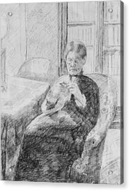 Old Woman Knitting Acrylic Print by Mary Cassatt