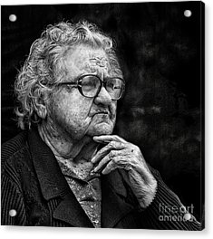 Old Woman Lost In Thought Acrylic Print by Stephan Grixti