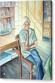 Old Woman Acrylic Print by Nancy Mueller