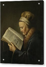 Old Woman Reading Acrylic Print by Gerard Dou