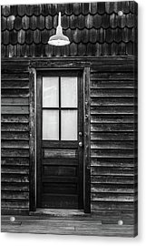 Old Wood Door And Light Black And White Acrylic Print by Terry DeLuco