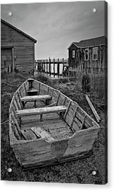 Old Wooden Boat Bw Acrylic Print