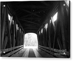 Old Wooden Covered Bridge - Southern Indiana - Black And White Acrylic Print