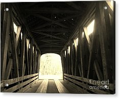Old Wooden Covered Bridge - Southern Indiana - Sepia Acrylic Print