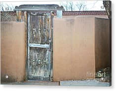Acrylic Print featuring the photograph Old Wooden Door Adobe by Andrea Hazel Ihlefeld