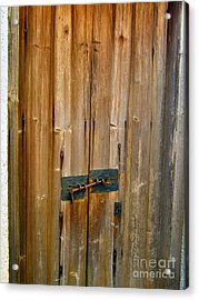 Old Wooden Door Chinese Village Hong Kong Two Acrylic Print by Kathy Daxon