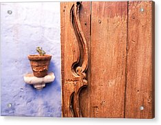 Old Wooden Door In Arequipa Acrylic Print by Jess Kraft