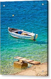 Old Wooden Fishermen Boat On Turquoise Beach Acrylic Print