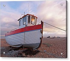 Old Wooden Fishing Boat Home By Sunset Acrylic Print
