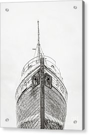 Acrylic Print featuring the photograph Old Wooden Fishing Boat In The Fog Iceland by Edward Fielding