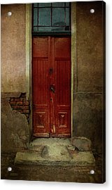 Old Wooden Gate Painted In Red  Acrylic Print