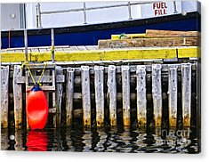 Old Wooden Pier In Newfoundland Acrylic Print by Elena Elisseeva