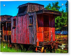 Old Wooden Red Caboose Acrylic Print by Garry Gay