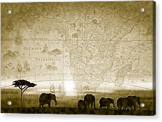 Old World Africa Antique Sunset Acrylic Print by Dana Bennett