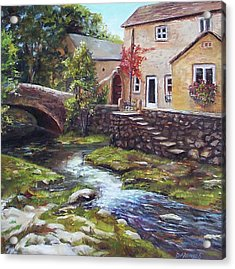 Old World Cottage Acrylic Print by Donna Munsch