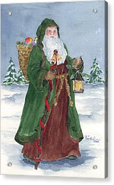 Old World Father Christmas Acrylic Print by Barbel Amos