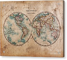 Old World Map In Hemispheres Acrylic Print by Richard Thomas