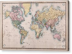 Old World Map On Mercators Projection Acrylic Print by Richard Thomas