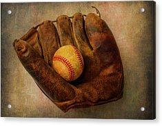 Old Worn Ball And Mitt Acrylic Print