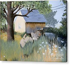 Old Yellow Shed Acrylic Print by Emily Michaud