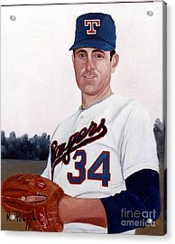 Acrylic Print featuring the painting Older Nolan Ryan With The Texas Rangers by Rosario Piazza