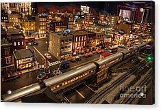 Oldtown Model Railroad Depot Acrylic Print by Richard Smukler