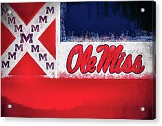Ole Miss Mississippi State Flag Acrylic Print by JC Findley