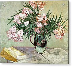Oleanders And Books Acrylic Print by Vincent van Gogh