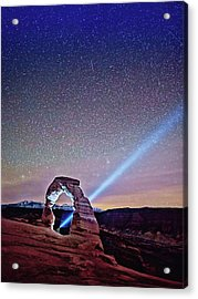Olena Art Starry Night Pointer At Delicate Arch Moab National Park Acrylic Print