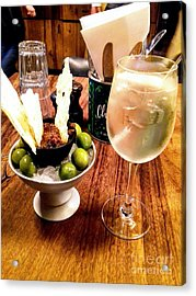 Olives On Ice And Prosecco Cocktail Acrylic Print by Joan-Violet Stretch