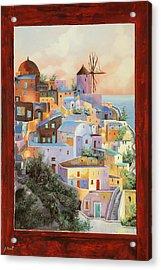 oltre la finestra il mulino a Santorini Acrylic Print
