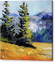 Acrylic Print featuring the painting Olympic Range by Nancy Merkle