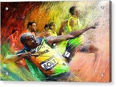Olympics 100 M Gold Medal Usain Bolt Acrylic Print