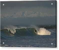 Olympics Over Halfmoon Bay Acrylic Print by Mike Coverdale