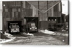 Olyphant Pa Coal Breaker Loading Trucks And Gondola Car Winter 1971 Acrylic Print