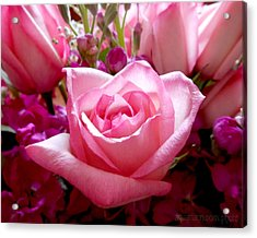 Ombre Pink Rose Bouquet Acrylic Print