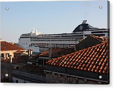 Omg There Is A Cruise Ship In My Backyard Acrylic Print by Pat Purdy