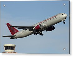 Omni Air International Boeing 767-319 N396ax Phoenix Sky Harbor January 2 2015 Acrylic Print by Brian Lockett