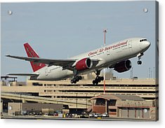 Omni Air International Boeing 777-222 N927ax Phoenix Sky Harbor January 3 2015 Acrylic Print by Brian Lockett