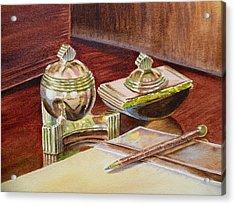 On A Desk At Eugene O Neill Tao House Acrylic Print by Irina Sztukowski
