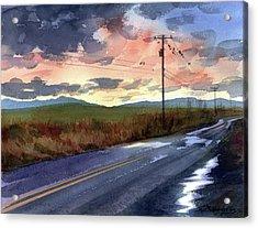 On A Road Side Acrylic Print by Sergey Zhiboedov