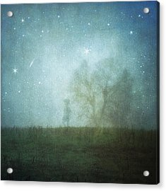 On A Starry Night, A Boy And His Tree Acrylic Print