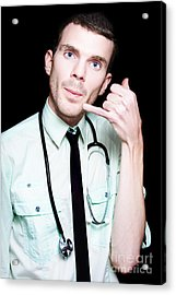 On Call Doctor Making Phone Gesture For Home Visit Acrylic Print by Jorgo Photography - Wall Art Gallery