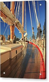On Deck Of The Schooner Eastwind Acrylic Print by Roupen  Baker